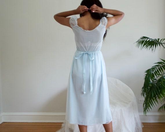 pale blue floral empire waist negligee / slip dre… - image 4