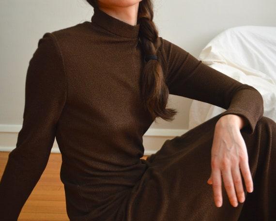 70s estevez brown microknit maxi dress - image 6