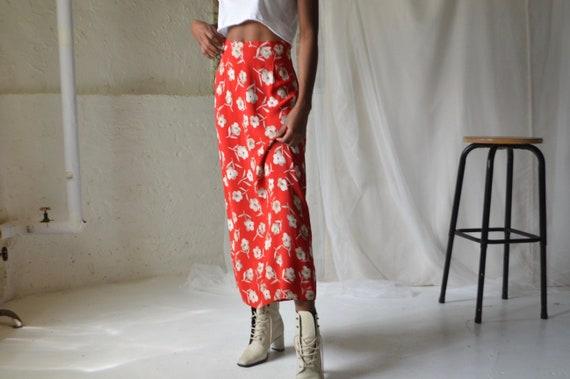 red floral ankle length slip skirt