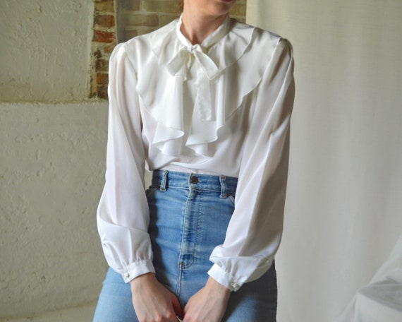 ruffle caped collar white blouse - image 3