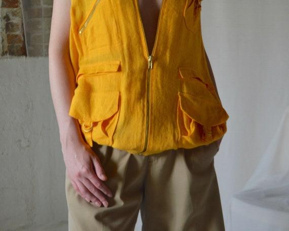 marigold linen cargo vest - image 6