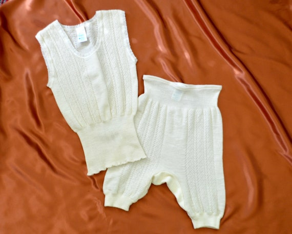cream wool knit top and short set / lounge set