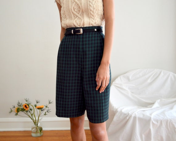 pleated tartan bermuda shorts / 31w