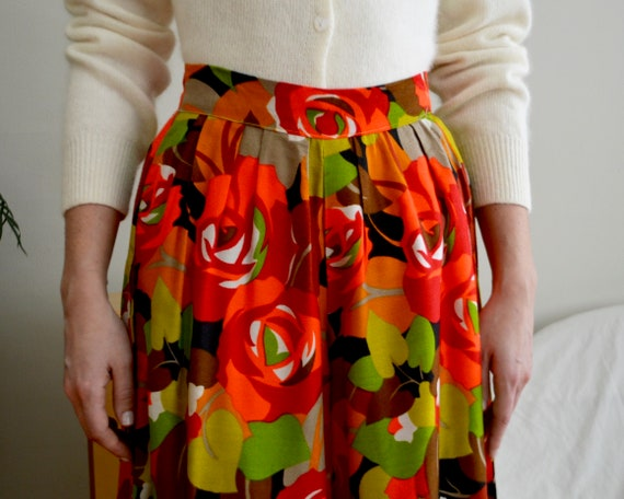70s floral palazzo pleat pants - image 5