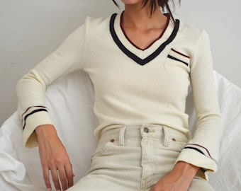 70s cream wool striped v neckline pullover sweater with bell sleeves