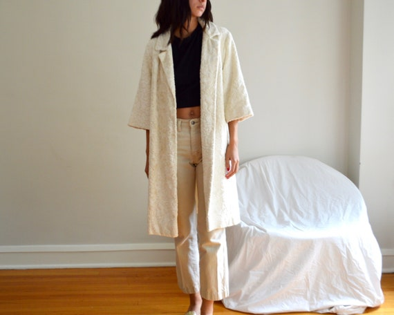 cream chenille tapestry swing coat