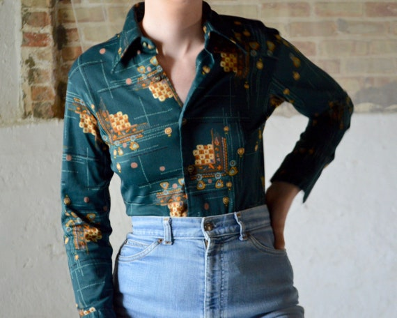 70s forest green novelty collared top