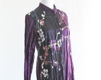 7b5071e7404 Citron Santa Monica Silk and Cotton Duster Tunic with Mandarin Collar and  Floral Print Medium