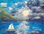 "ocean sail boat 8x10"""" sailing needle felt painting, home decor, wall art original art no frame."