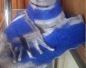 blue and grey abstract art scarf all superfine merino wool hand felted