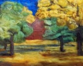 fall is coming, felt painting landscape autumn 11x14 home decore