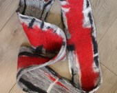 red grey black abstract art scarf superfine merino wool fancy scarf
