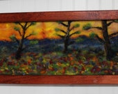"super bloom fields of flowers trees sunset 9x18inches inches needle felt painting with "" frame home decor wall art original"