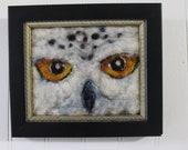 snow owl owl art mini needle felt painting  , home decor