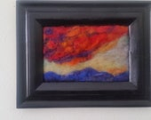 "New Mexico sunset  need felt painting,  all wool. 5x7"" home decor"