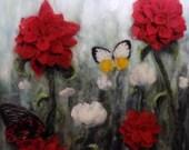 """Art Print,  Butterfly and flowers  16x20"""". felt landscape home decor, original artwork"""