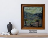 "Original Green mountain trail country landscape needle felt painting 17x23"" home decor original art"