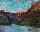 Bowman Lake, Glacier  National Park 18x34inches PLEIN AIR needle felt painting home decor, felt landscape 25X32inches with oak frame