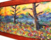 """super bloom fields of flowers trees sunset 9x18inches inches needle felt painting with """" frame home decor wall art original"""