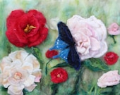 peony spring bloom. flowers and butterfly felted landscape , k home decor