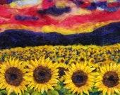 """sunflower field  needle felt painting prints.  22x26"""" home decor original art wool art 3D art"""