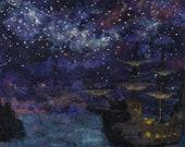 "a perfect sailors night 12x24"" needle felt painting home decor original artwork no FRame!"