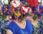 bloom needle felt relief painting 16x20in wool hand wet felted