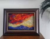 """New Mexico sunset  need felt painting,  all wool. 5x7"""" home decor"""