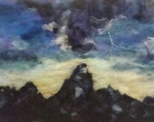 "Grand tetons storm, lightning strike country mountain landscape felt panting home decor 12x24"" original artwork western inspired"
