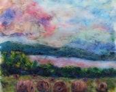 winer hay bales, country sunset, farm, landscape needle felt painting 16x18 NO Frame