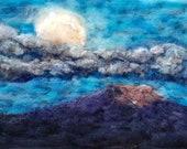 "super moon New Mexico moonrise southwest  needle felt painting home decor original art 8x10"""