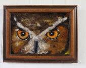 "Owl art needle felt painting 5x7"" .. home decor, original"