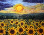 print of sunflower field  needle felt painting prints. 8x10 inch print with white 11x14 matt  home decor