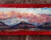 """New Mexico plato  sunset , country landscape. abstract 6x16"""" with 9x18"""" frame. needle felt painting home decor"""