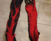red tree with black small neck wrap merino wool hand wet felted scarf