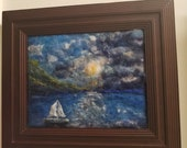 "ocean sail boat 8x10"""" sailing needle felt painting, home decor, wall art original art 9x12 with wood frame"