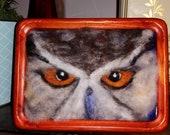 owl needle felt painting home decor original artwork