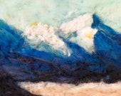 "Rocky mountains, colorado mountains, westcliff  needle felt painting 12x36"" original  felt art, home decor No Frame. wool art"