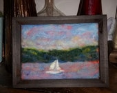 "Sailing in the pink sky 5x7"" needle felt painting original art wall decor"