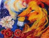 print!!! lion with flower 3D felt painting home decor