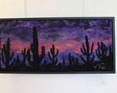 "saguaro national park saguarp cactus Tuscan Arizona sunset  needle felt painting."" felt painting , home decor"