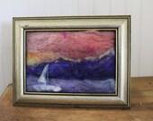 """sail boat sunset mountains  lake needle felt painting. 5x7"""" home decor gift"""