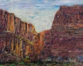 Santa Elena Canyon,  Big Bend National Park, TEXAS plein air needle felt painting home decor original art 25x36inches