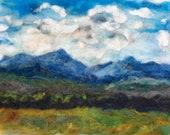 Adirondacks mountains original felt artwork, gift art .. mountains and lake sunset 8x10inch needle felt   landscape sunset home decor