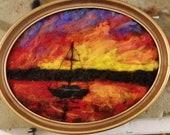sunset sail boat 12x12&qu...