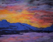 Abiquiu lake new mexico sunset  needle felt relief painting wall decor, wall art, gifts