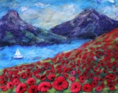 poppy flowers, sail boat,mountains  needle felt painting red flowers, print