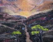 the lonely road tree road mountain felt needle felt 11x14inches home decor art original artwork Western inspired