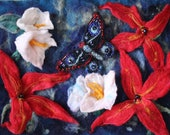 bloom. flowers and butterfly felted landscape , bead work home decor
