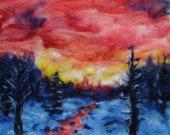 "red sky winter sunset 11x14"" needle felt painting. original art home decor"